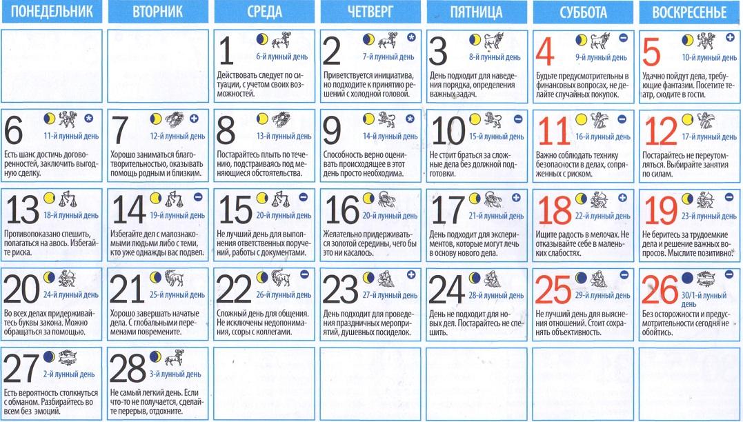 лунный календарь знакомств 2017