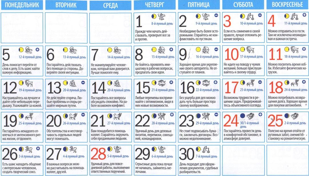 Лунный календарь на 8 июня 2017 года