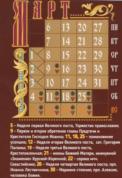 Православные церковные праздники в марте 2017 года