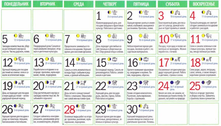 Посевной календарь в 2014 года
