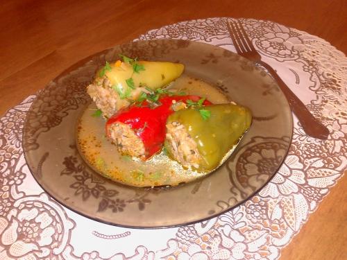 рецепт перец фаршированный мясом с рисом рецепт с фото с подливкой